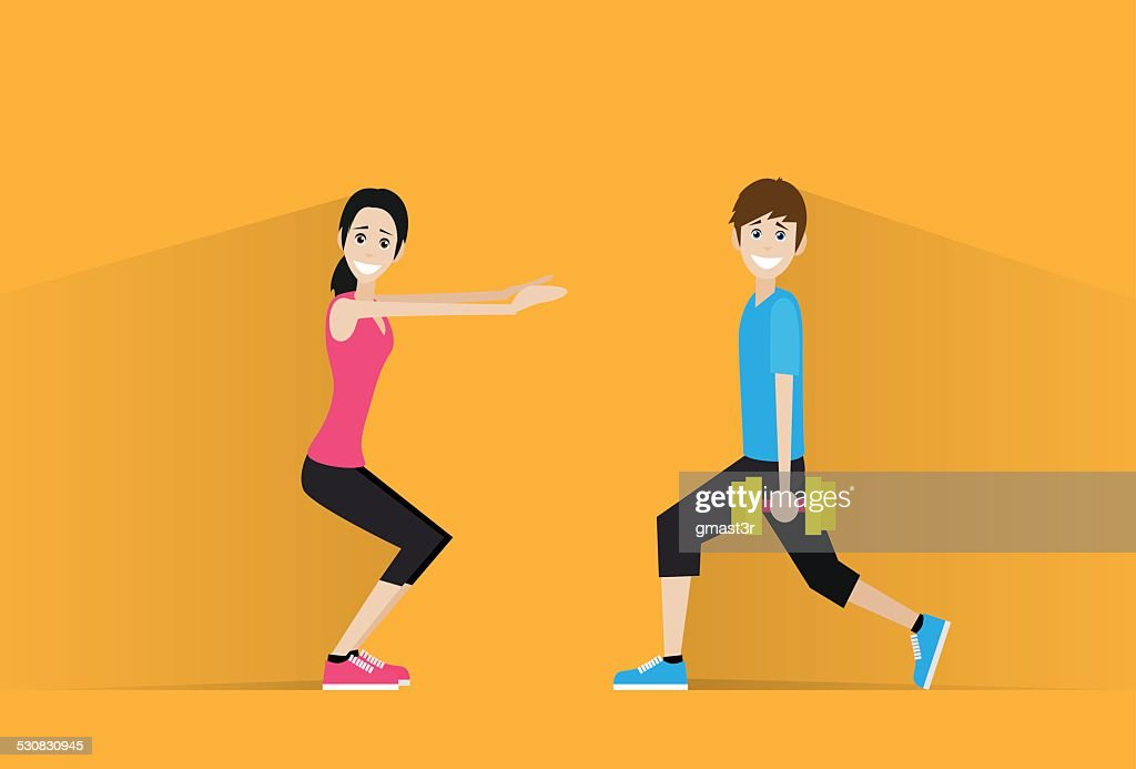 sport fitness couple man dumbbell woman exercise