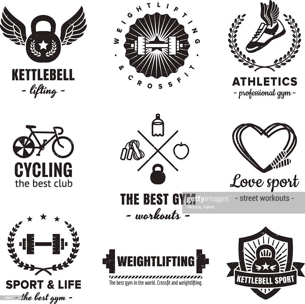 Sport & fitness logos vintage vector set. Hipster style.