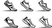 Sport fitness running silhouette shoes in start position set