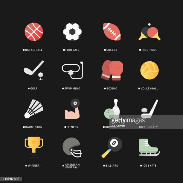 sport flat icon set - football league stock illustrations