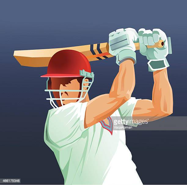sport game of cricket - batsman close up - match sport stock illustrations, clip art, cartoons, & icons