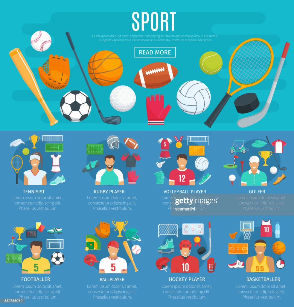 Sport game poster template with sporting equipment