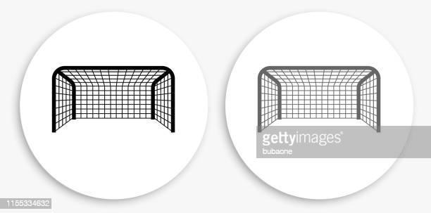 スポーツゲート黒と白の丸いアイコン - ゴールネット点のイラスト素材/クリップアート素材/マンガ素材/アイコン素材