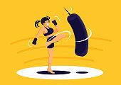 sport girl exercise Muay Thai training