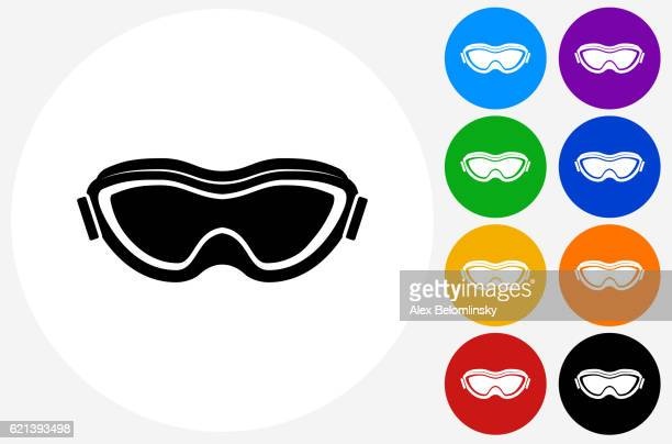 sport goggles icon on flat color circle buttons - ski goggles stock illustrations, clip art, cartoons, & icons