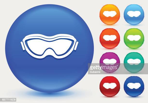sport goggles icon on shiny color circle buttons - ski goggles stock illustrations, clip art, cartoons, & icons