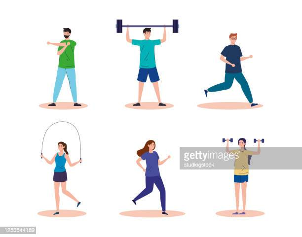 sport group people practicing sport healthy