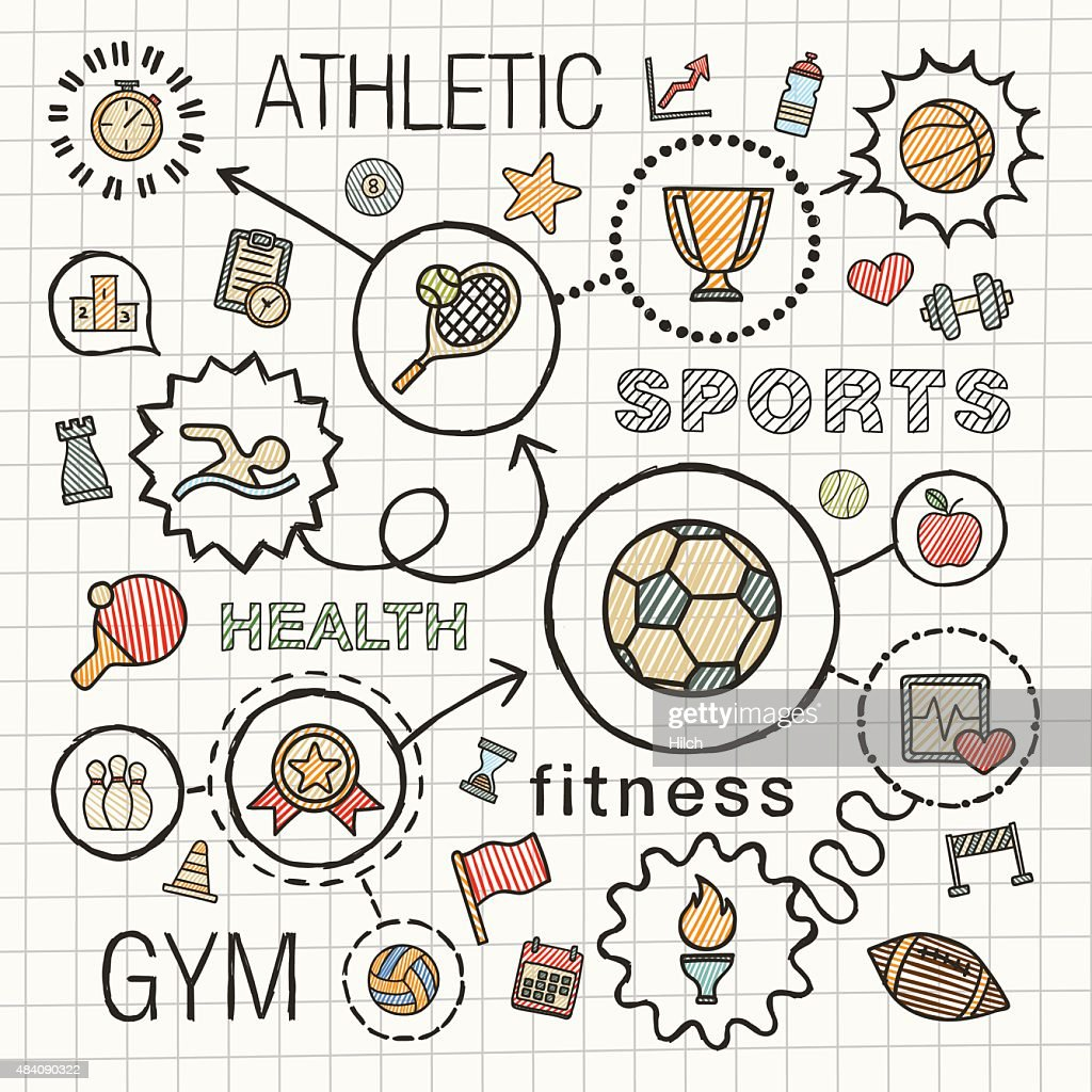 Sport hand draw integrated color icons. Vector sketch infographic illustration