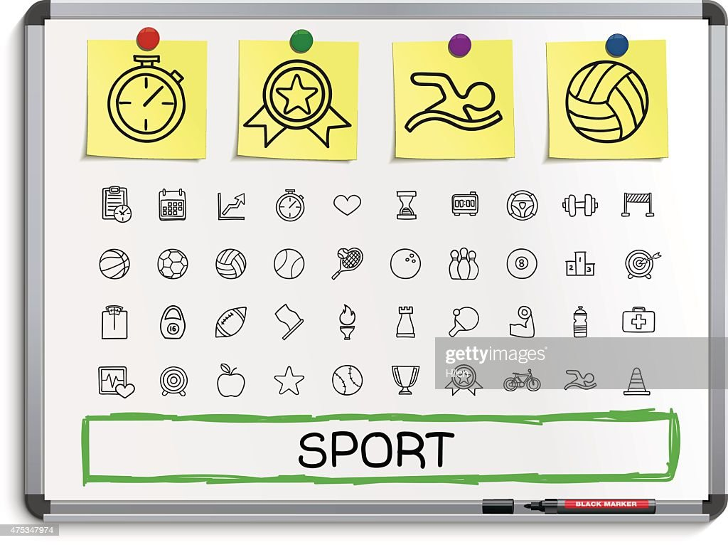 Sport hand drawing line icons.