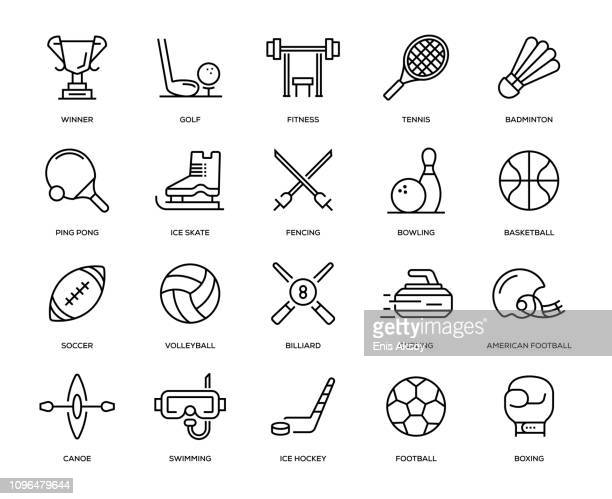 sport icon set - american football sport stock illustrations