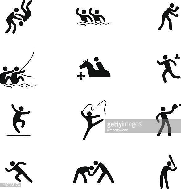 ilustrações de stock, clip art, desenhos animados e ícones de conjunto de ícones de desporto - judo
