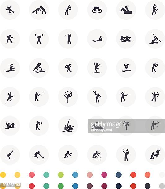 sport icon set - gymnastics stock illustrations, clip art, cartoons, & icons