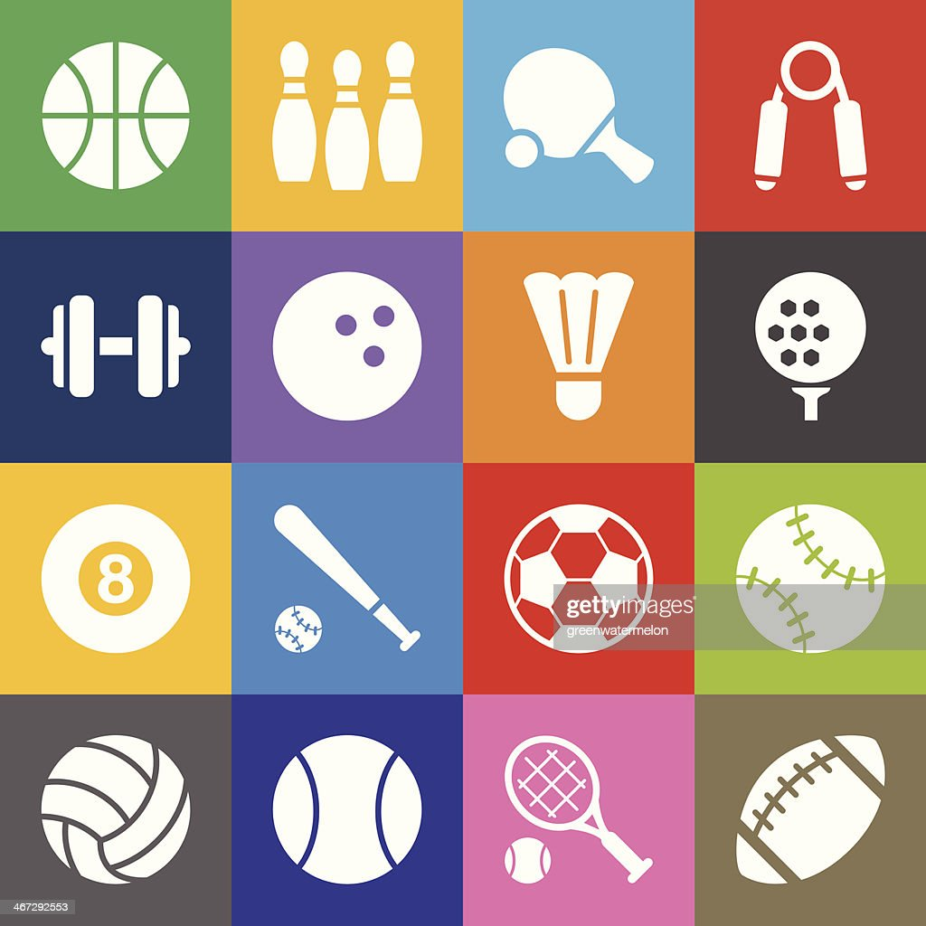 Sport Icons and Color Background