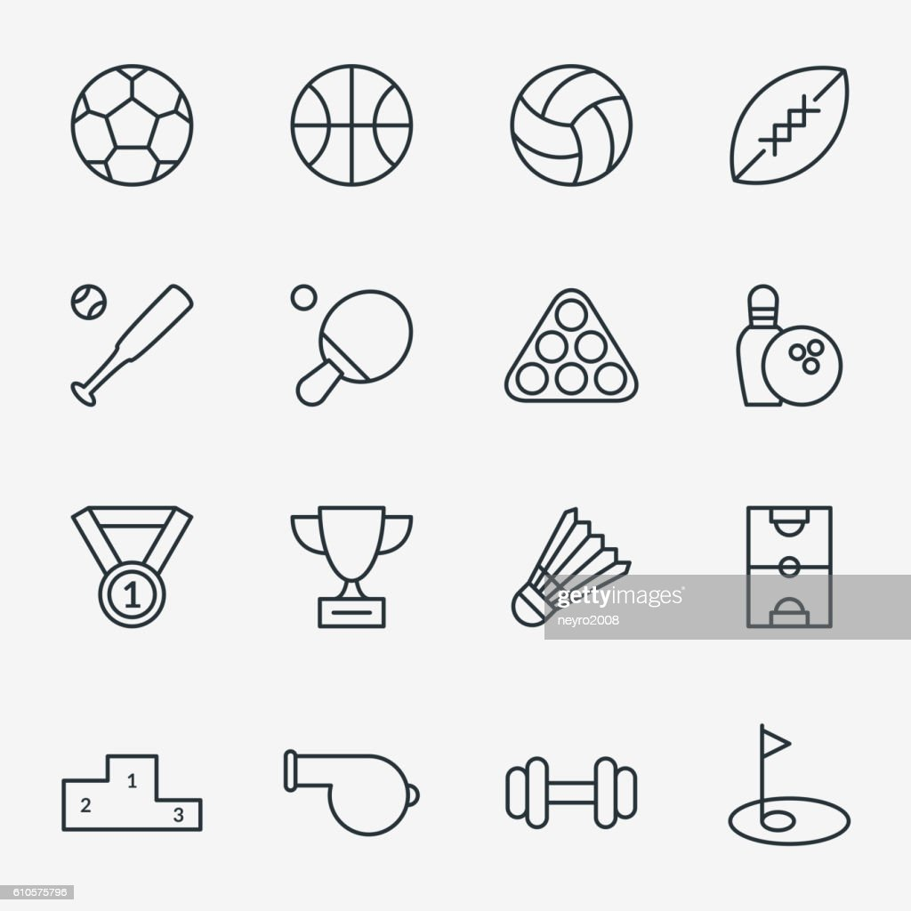 Sport icons in thin line style