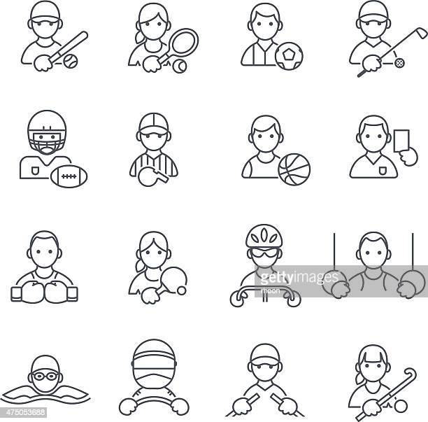 sport icons in thin line. - race car driver stock illustrations, clip art, cartoons, & icons