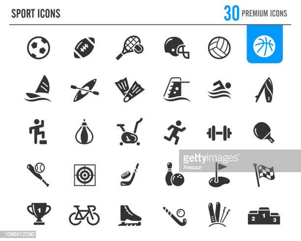 sport icons // premium series - sports equipment stock illustrations