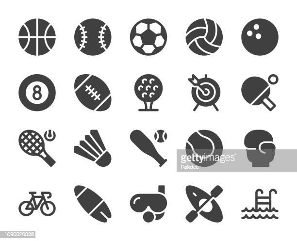 sport - icons - sports equipment stock illustrations