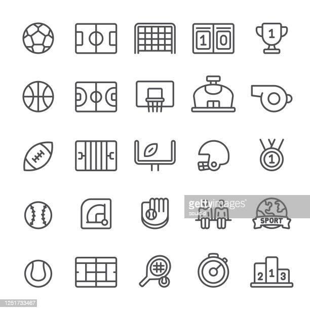 illustrazioni stock, clip art, cartoni animati e icone di tendenza di icone sportive - terreno di gioco