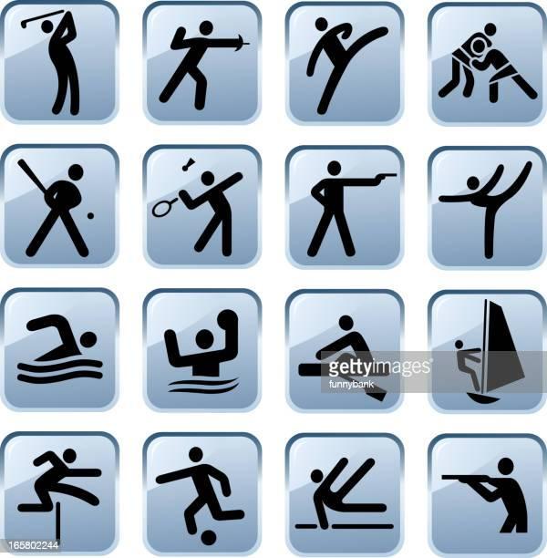 ilustraciones, imágenes clip art, dibujos animados e iconos de stock de iconos de deporte - hockey sobre hierba