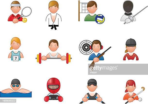 ilustraciones, imágenes clip art, dibujos animados e iconos de stock de iconos de deporte - piloto de coches de carrera