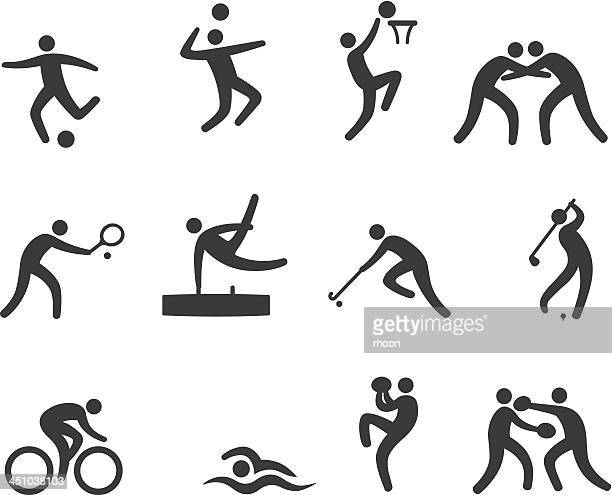 sport icons - professional wrestling stock illustrations