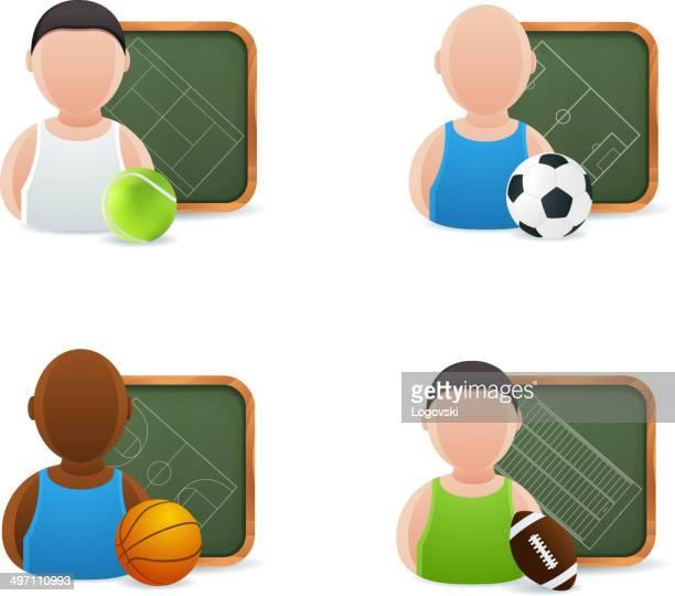 ilustraciones, imágenes clip art, dibujos animados e iconos de stock de iconos de deporte - cancha futbol