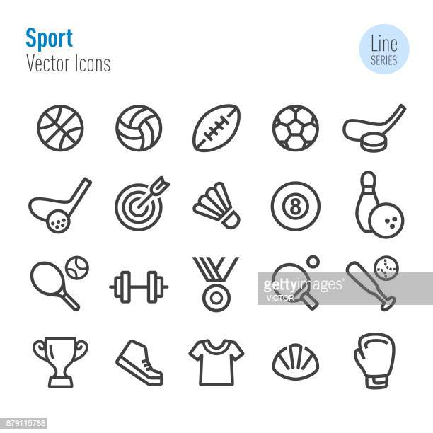 stockillustraties, clipart, cartoons en iconen met sport icons - vector line serie - football