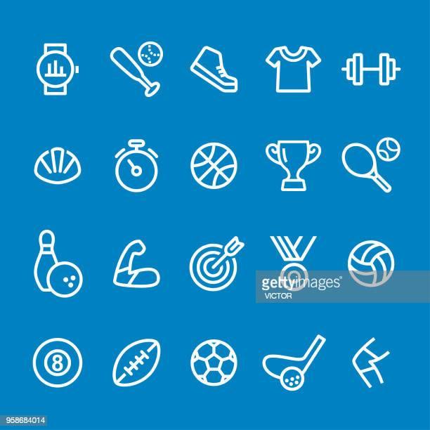 sport icons - vector smart line series - badminton racket stock illustrations