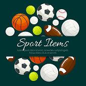 Sport items and balls vector label emblem