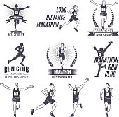 Sport labels at marathon theme for sport teams. Illustrations of athlete isolated