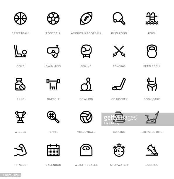 sport line icon set - badminton racket stock illustrations