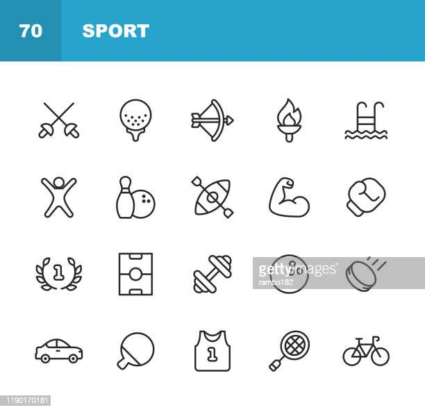 sport line icons. editable stroke. pixel perfect. for mobile and web. contains such icons as soccer field, bowling, golf, swimming, fitness, muscle, gym, boxing, hockey, car, bike. - leisure facilities stock illustrations