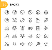 Sport Line Icons. Editable Stroke. Pixel Perfect. For Mobile and Web. Contains such icons as Baseball, Volleyball, Tennis, Basketball, Soccer, Medal, Running Shoes, Muscles, Bicycle, Ricing, Pool, Golf, Bowling, Gym, Surfing, Box, Archery, Swimming.