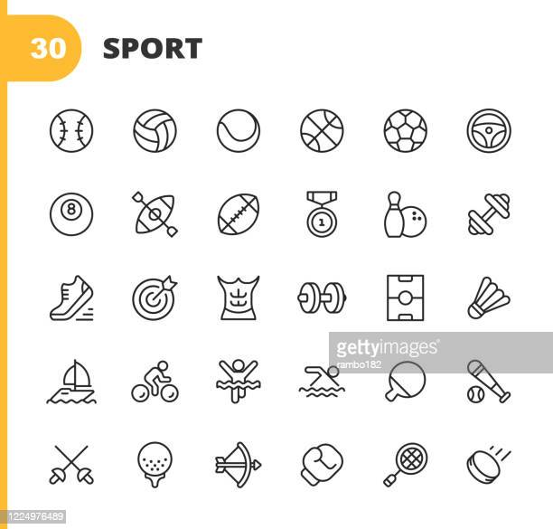 sport line icons. editable stroke. pixel perfect. for mobile and web. contains such icons as baseball, volleyball, tennis, basketball, soccer, medal, running shoes, muscles, bicycle, ricing, pool, golf, bowling, gym, surfing, box, archery, swimming. - sports ball stock illustrations