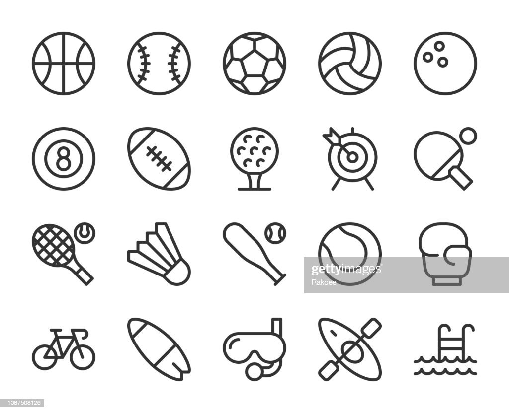 Sport - Line Icons : Stock Illustration