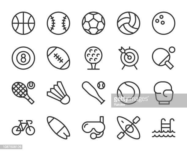 sport - line icons - sports ball stock illustrations