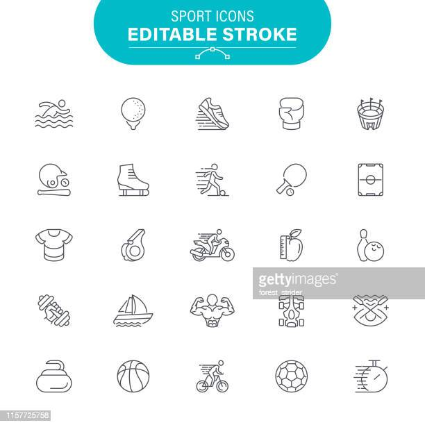 sport line icons - diving sport stock illustrations