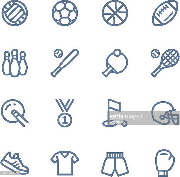sport line icons - sports equipment stock illustrations