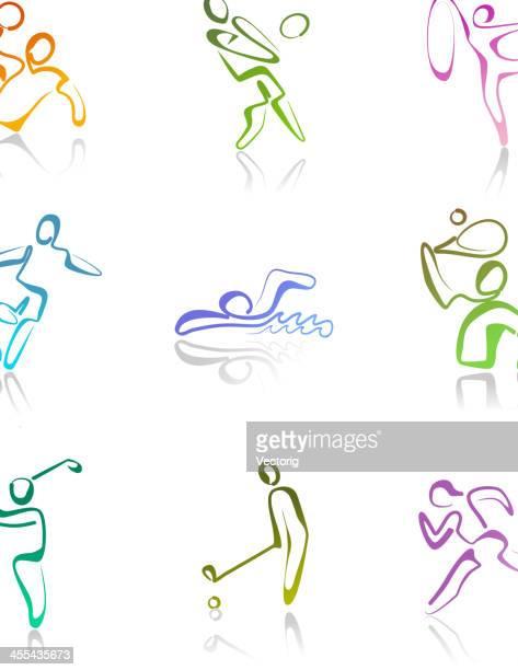 sport logo - volleyball sport stock illustrations, clip art, cartoons, & icons