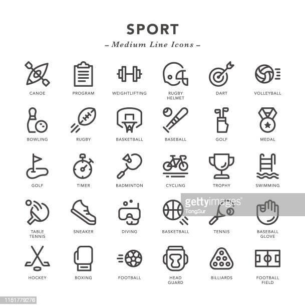 sport - medium line icons - team sport stock illustrations