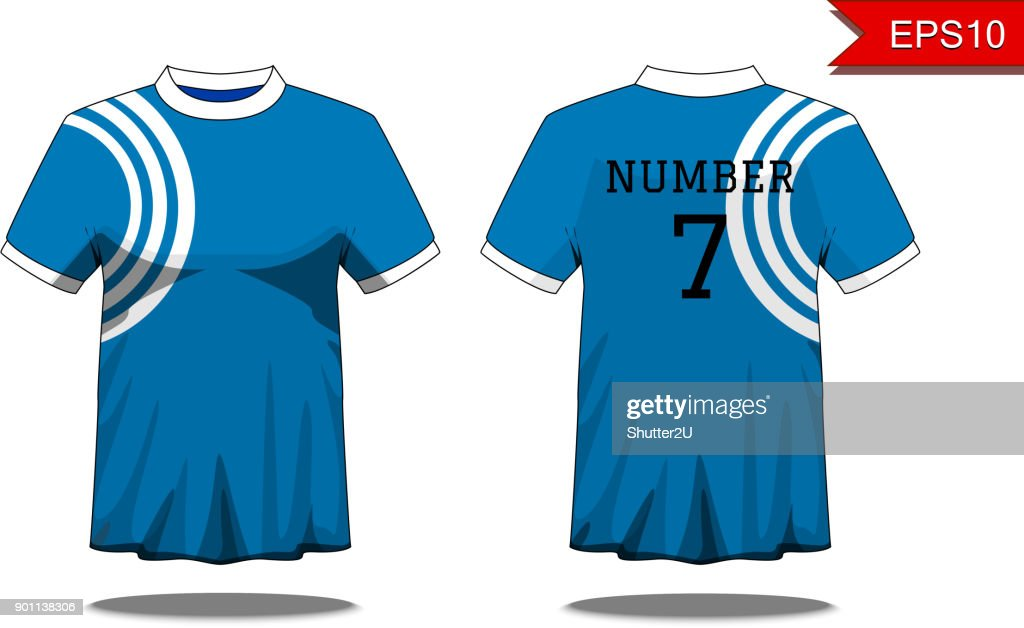 Sport Men's t-shirt with short sleeve in front and back view. Blue with white stripe and Editable color design. Mock up of sport wear concept. Sport and Fashion theme. EP10 Vector illustration.