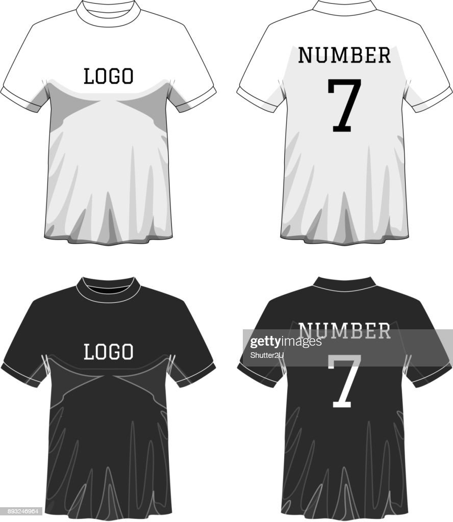 Sport Men's t-shirt with short sleeve in front and back views. Black and White or Design editable color. Mock up of sport wear concept. Sport and Fashion theme. EP10 Vector illustration.