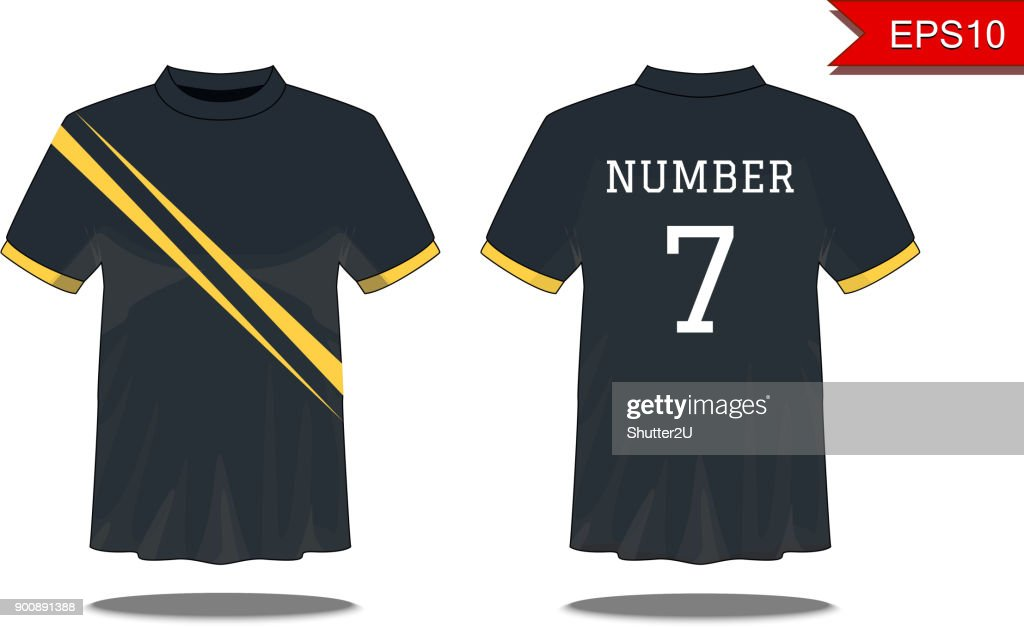 Sport Men's t-shirt with short sleeve in front and back views. Black with yellow stripes and Editable color design. Mock up of sport wear concept. Sport and Fashion theme. EP10 Vector illustration.