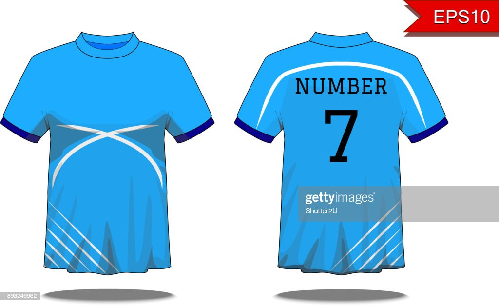 Sport Men's t-shirt with short sleeve in front and back views. Blue with white stripes and Editable color design. Mock up of sport wear concept. Sport and Fashion theme. EP10 Vector illustration.