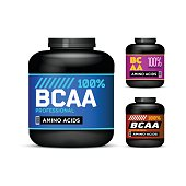 Sport Nutrition Containers. Branched-Chain Amino Acids set. Black cans