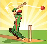 Sport of Cricket - Batsman Hits Ball for Four Runs