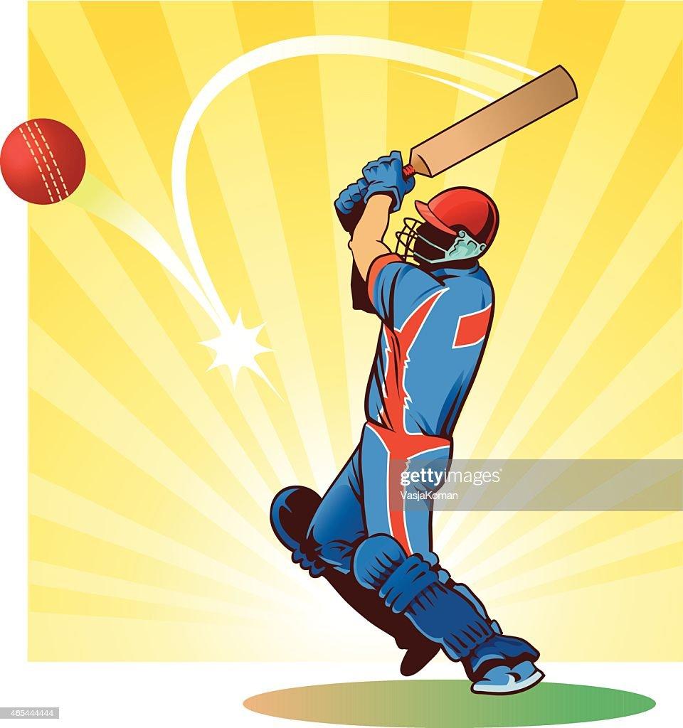 Sport of Cricket - Batsman Strikes the Ball