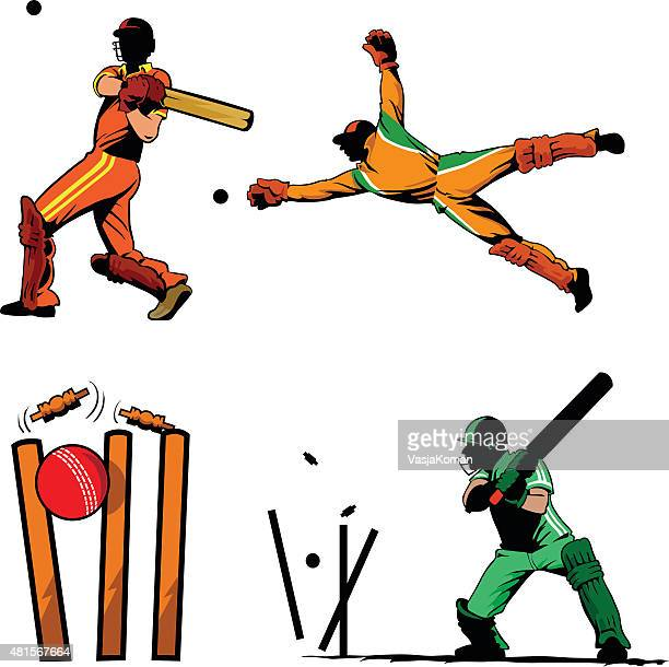 sport of cricket players set - wicket stock illustrations