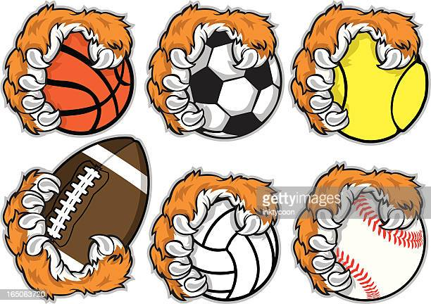 sport paws - claw stock illustrations, clip art, cartoons, & icons