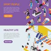 Sport People in Gym Healthy Life Concept Banner Horizontal Set Isometric View. Vector